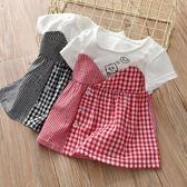 女童洋裝新品夏季正韓拼接格子女童洋裝洋氣印花純棉短袖T恤公主裙【全館免運】