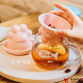 堯峰陶瓷 貓抓玻璃茶漏蓋杯  適用於加溫器 玻璃杯 花茶杯咖啡杯 耐高溫高硼硅玻璃 現貨免運