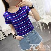 2018夏季露肚臍短袖女性感百搭高腰緊身顯瘦條紋t恤女短款上衣