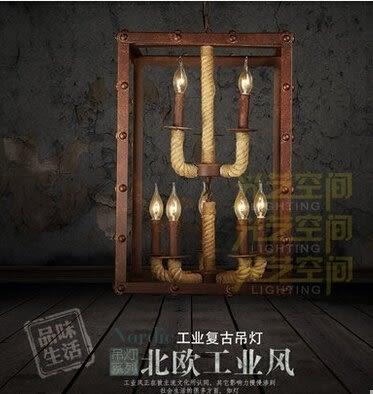 設計師美術精品館麻繩吊燈工業複古餐廳吊燈書房臥室床頭燈飾美式創意過道燈 手工