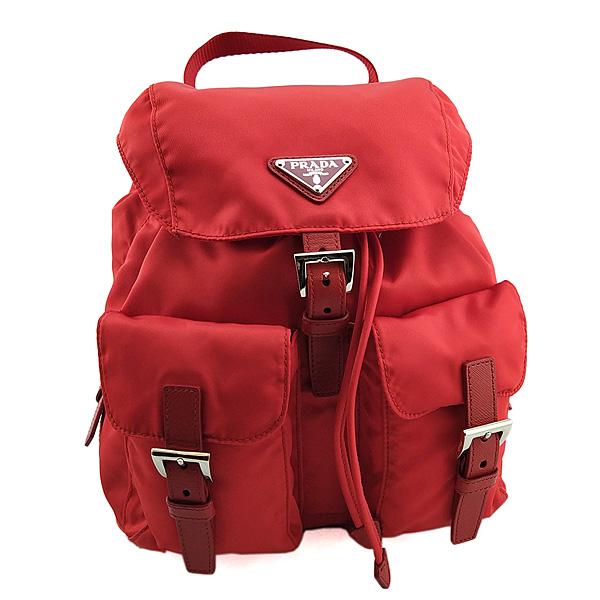 PRADA 紅色尼龍帆布前雙口袋束口後背包(九成新)