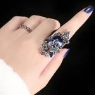 戒指誇張蝴蝶藍石戒指女日韓飾品潮人食指裝飾指環個性