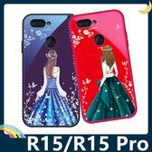 OPPO R15/R15 Pro 藍光玻璃保護套 硬殼 愛心女神 奢華水鑽 貼鑽全包款 手機套 手機殼 歐珀