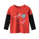 恐龍幾何造型圓領長袖上衣 紅色 童裝 T-shirt