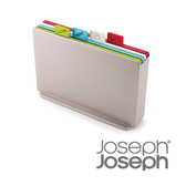 《Joseph Joseph英國創意餐廚》檔案夾止滑砧板組-雙面附凹槽(小銀)