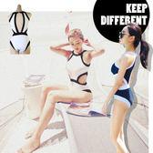 黑白 撞色顯瘦 露腰挖腰連身泳裝 比基尼 泳衣 連身 高腰 比基尼 橘魔法 magic G 現貨 顯瘦