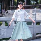 短袖裙裝 新款少女學生復古中國風小清新棉麻刺繡上衣半身裙兩件套
