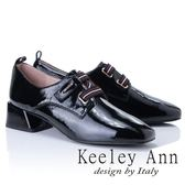 ★2018秋冬★Keeley Ann英倫復古~彈性線條寬帶全真皮粗跟樂福鞋(黑色) -Ann系列