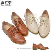 牛津鞋 綁帶雕花軟底粗跟鞋