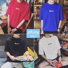 【Y088】shiny藍格子-簡約美風.夏季純色英文字母圓領短袖T恤