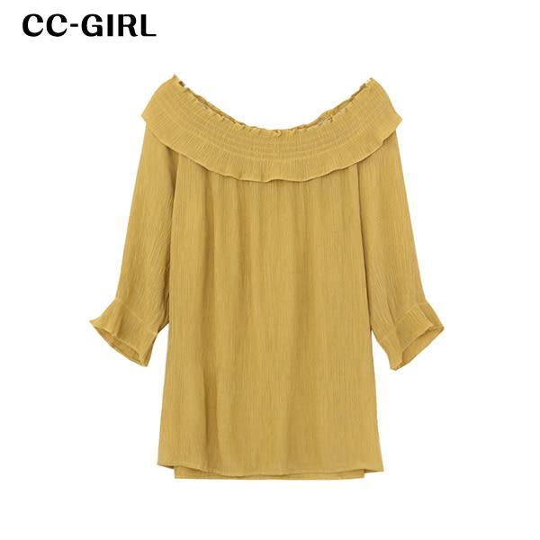 中大尺碼 氣質露肩一字領泡泡袖荷葉邊上衣~共兩色 - 適XL~3L《 19039B 》CC-GIRL