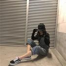 韓版寬鬆 減齡復古連衣背帶褲女網紅ins...