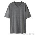 韓版夏季男士睡衣休閒莫代爾家居服薄款寬鬆單上衣男打底宅宅睡衣 自由角落