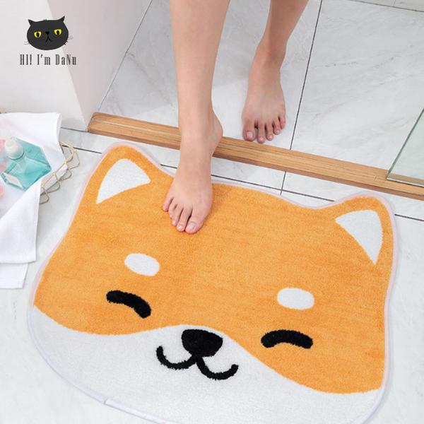 柴犬大頭造型地墊 柴犬吸水地墊 地墊 吸水墊 地毯 浴室廚房門口踏墊 【Z90720】