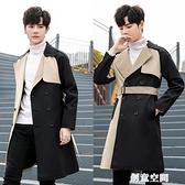 秋季雙排扣束腰帶風衣男韓版潮流中長款過膝大衣男士拼色外套英倫 創意新品
