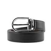 【MONT BLANC】馬蹄型亮面鍍鈀針式搭扣雙面可用皮帶(黑色/深棕色) 128757