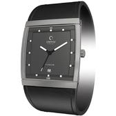 OBAKU 方型視覺時尚鈦金屬腕錶(銀灰)