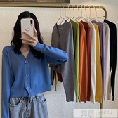 秋季2020新款V領黑色針織衫短款上衣女春秋薄款長袖開衫毛衣外套-完美