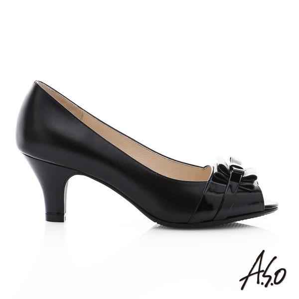 A.S.O 逸麗知性 真皮甜美蝴蝶結魚口跟鞋  黑