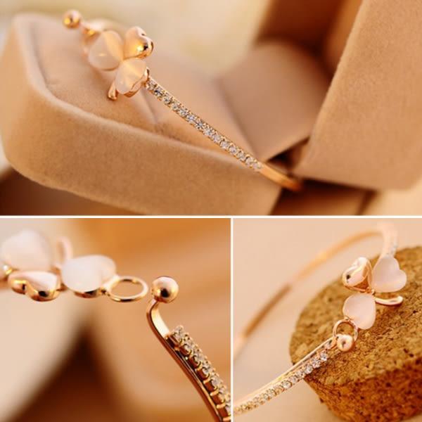 [24H 現貨快出] 韓國 精緻 奢侈 小香風 桃心 手鍊 三葉草 手鍊 貓眼石 滿鑽 手鐲