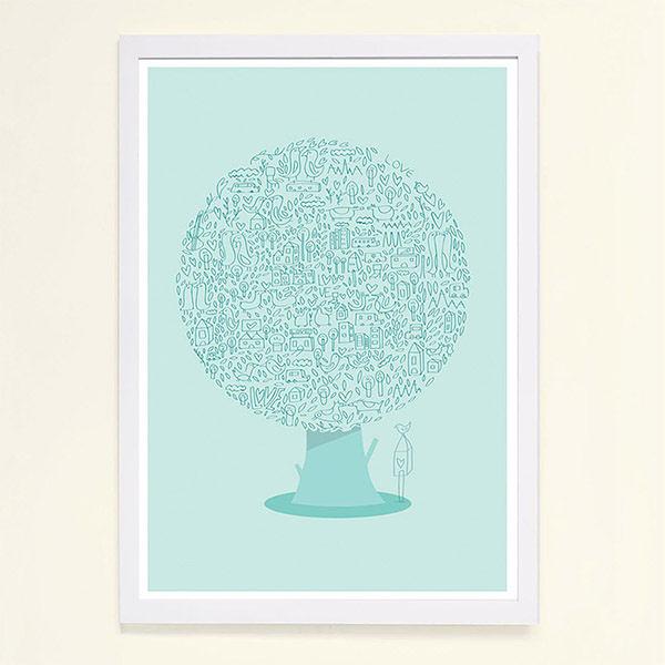 【摩達客】西班牙知名插畫家Judy Kaufmann藝術創作海報掛畫裝飾畫-動物樹(附Judy本人簽名)(含木框)