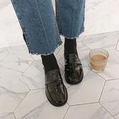 樂福鞋女2019春秋季新品低粗跟女鞋豆豆單鞋子圓頭學院風小皮鞋女