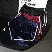 綢緞光面高腰修身白邊運動跑步短褲居家熱褲睡褲女夏