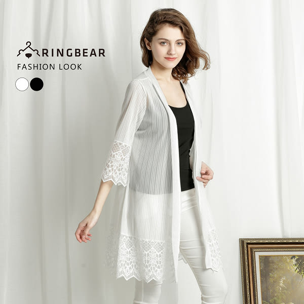 薄外套--優雅空花蕾絲時尚氣質七分短袖防曬罩衫外套(白.黑XL-4L)-J229眼圈熊中大尺碼