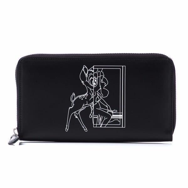 ■現貨在台■62折■全新真品 Givenchy Bambi 斑比插畫圖騰皮革拉鍊長夾錢包
