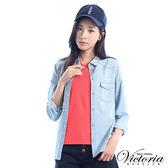 Victoria 口袋星星刺繡V領基本短袖T-女-橘紅