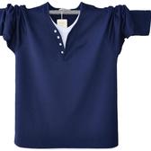 加肥加大尺碼男士長袖T恤潮男雙層領大尺碼男裝春秋款歐版超大寬鬆t恤
