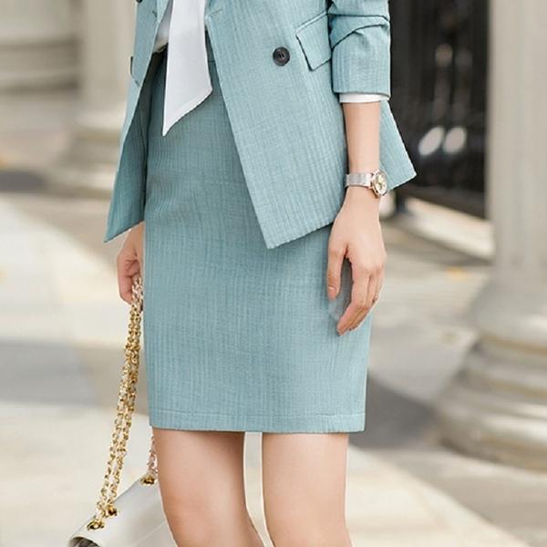 微直條沉穩OL粉領窄裙短裙[21S157-PF]美之札