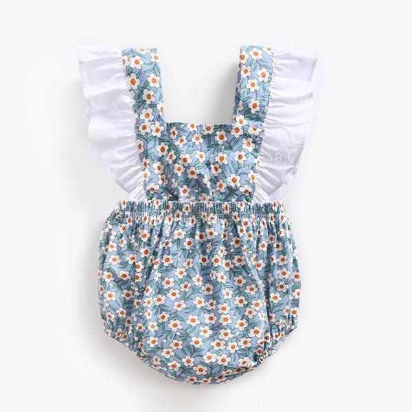 藍底碎花蝴蝶結綁帶包屁衣 爬爬服 連身裝 嬰兒服