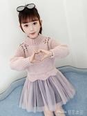 女童毛衣裙子春款新款秋冬童裝小女孩洋氣公主裙兒童連身裙(聖誕新品)