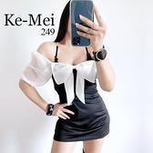 克妹Ke-Mei【AT68736】Lady少女法式蝴蝶結性感露肩收腰小洋裝