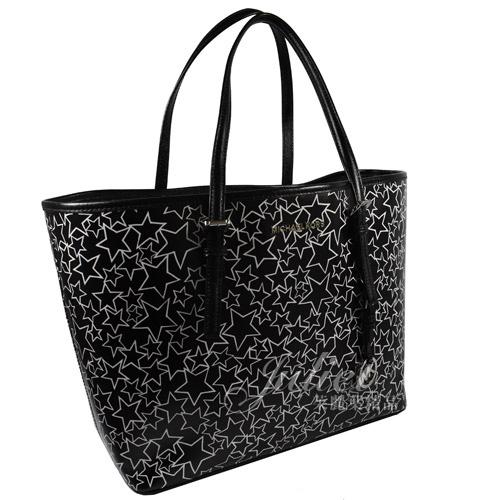 茱麗葉精品【下殺低價】MICHAEL KORS 經典LOGO星星圖案肩背大托特購物包.黑