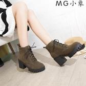 MG 馬丁鞋-英倫風粗跟短靴高跟馬丁靴