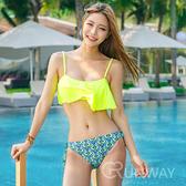 【R】現貨 - 韓國 復古 時尚 荷葉邊 三角 溫泉 比基尼 泳衣 泳裝 螢光 沙灘 海邊 必備