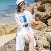 現貨32982/海邊度假沙灘雪紡防曬開衫外套防曬衣女中長款
