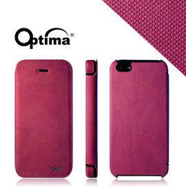 【漢博商城】Optima iPhone 5/5S 義大利針織系列側掀保護套 - 莓紅