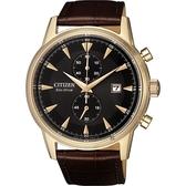 CITIZEN 星辰 光動能紳士計時手錶-玫瑰金框x咖啡/42.5mm CA7008-11E