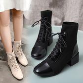 靴子.英倫騎士風綁帶馬丁短靴.白鳥麗子