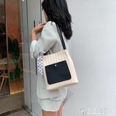 2020年新款草編包女單肩 拼接單肩斜背時尚撞色休閒包女包購物包