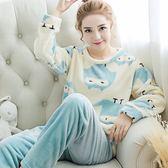 睡衣 韓版秋冬季加厚可愛卡通長袖法蘭絨睡衣女士套裝圓領珊瑚絨家居服【小天使】