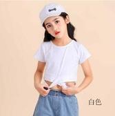 女童上衣 韓版女童t恤短款洋氣時尚短袖潮短上衣童裝表演走秀夏童 交換禮物
