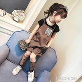 韓版童裝2018夏裝新款女童休閒背帶連體短褲 黑色打底衫兩件套裝-Ifashion