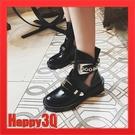 英倫風歐美街拍鏤空拼接皮帶金屬扣漆皮亮面馬丁鞋短靴-黑色34-40【AAA1006】預購