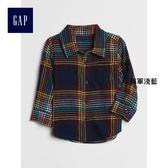 Gap男嬰兒 格紋可卷袖長袖襯衫 374396-海軍淺藍