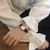 情侶對錶   韓風chic簡約真皮方形複古小錶盤複古時尚情侶石英手錶女