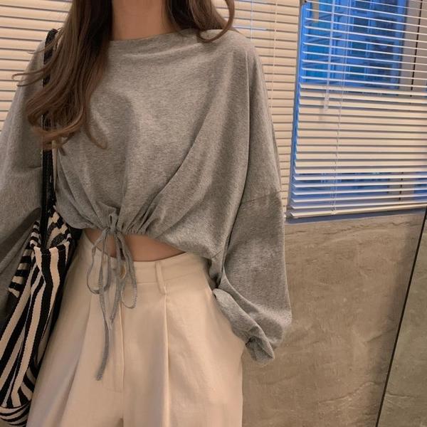 早秋上衣女短款收腰灰色打底衫2020新款寬鬆高腰露臍長袖T恤ins潮 【ifashion·全店免運】